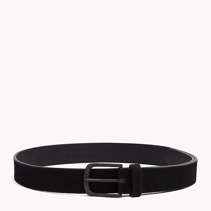 TOMMY HILFIGER Nubuck Leather Belt - TESTA DI MORO - TOMMY HILFIGER Men - main image