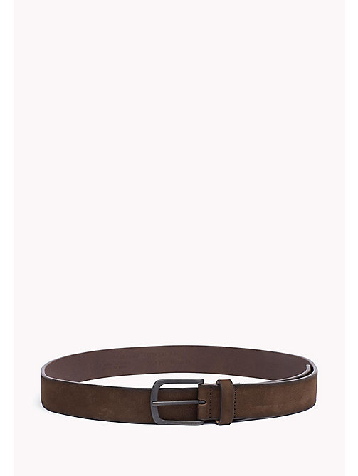 TOMMY HILFIGER Nubuck Leather Belt - TESTA DI MORO -  Belts - main image