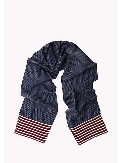 TOMMY HILFIGER Wool Blend Scarf - BLUE CHECK MIX STRIPES - TOMMY HILFIGER Hats & Scarves - detail image 1