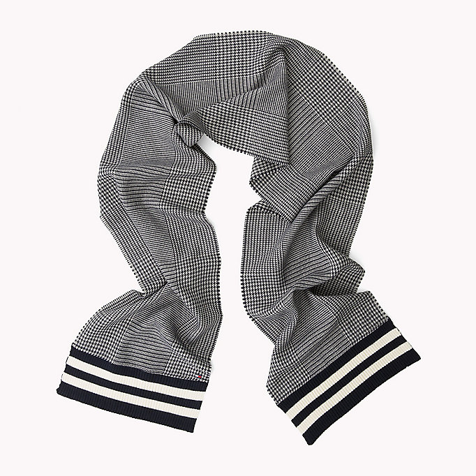 TOMMY HILFIGER Wool Blend Scarf - BLUE CHECK MIX STRIPES - TOMMY HILFIGER Bags & Accessories - detail image 1