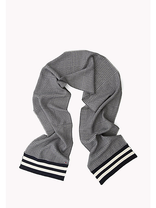 TOMMY HILFIGER Wool Blend Scarf - GREY SOLID & STRIPES - TOMMY HILFIGER Hats & Scarves - detail image 1