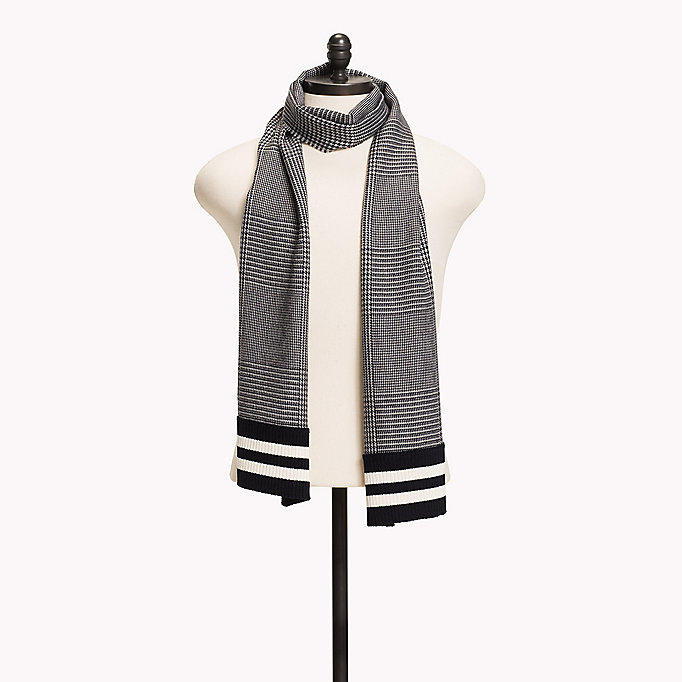TOMMY HILFIGER Wool Blend Scarf - BLUE CHECK MIX STRIPES - TOMMY HILFIGER Men - main image