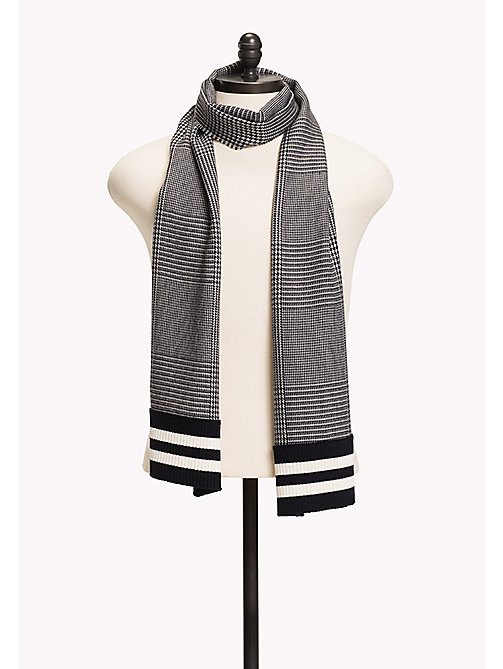 TOMMY HILFIGER Wool Blend Scarf - GREY SOLID & STRIPES - TOMMY HILFIGER Hats & Scarves - main image