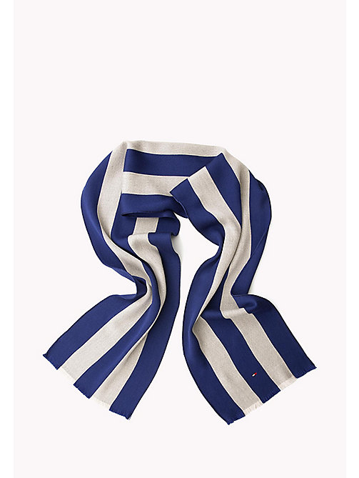 TOMMY HILFIGER Wool Stripe Scarf - BLUE & SILVER - TOMMY HILFIGER Bags & Accessories - detail image 1