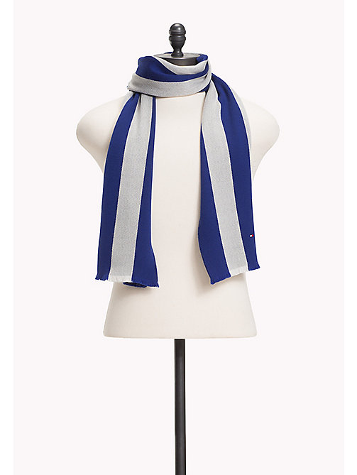 TOMMY HILFIGER Wool Stripe Scarf - BLUE & SILVER - TOMMY HILFIGER Bags & Accessories - main image