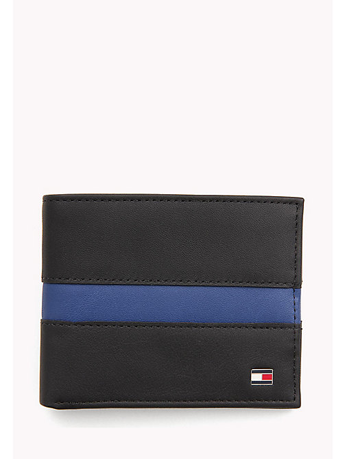 TOMMY HILFIGER Contrast Stripe Leather Wallet - BLACK / SODALITE BLUE - TOMMY HILFIGER Bags & Accessories - main image