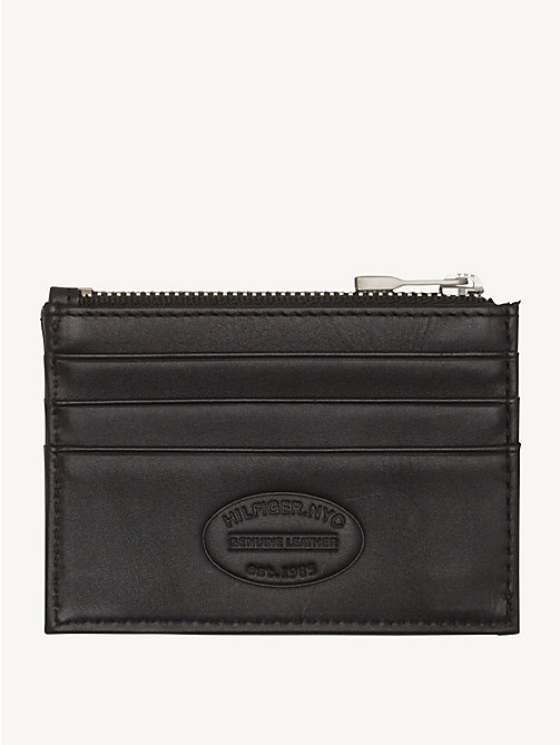TOMMY HILFIGER Leather Zip Cardholder - BLACK - TOMMY HILFIGER Wallets & Keyrings - main image