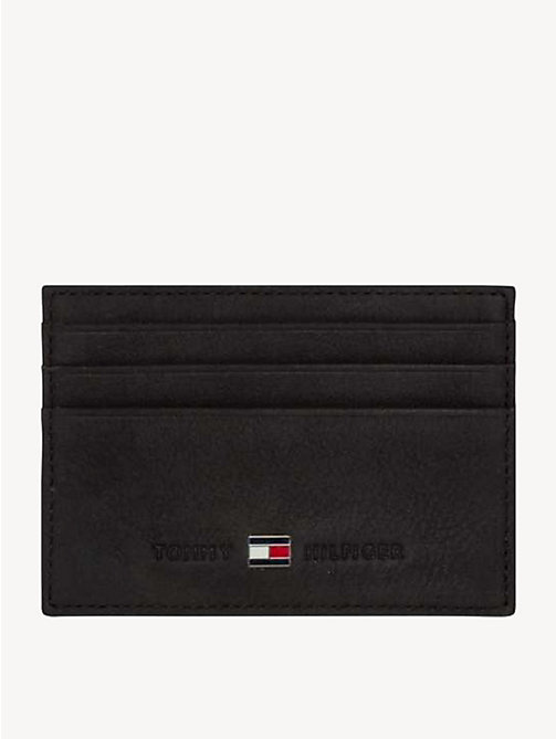TOMMY HILFIGER Leather Cardholder - BLACK - TOMMY HILFIGER Wallets & Keyrings - main image