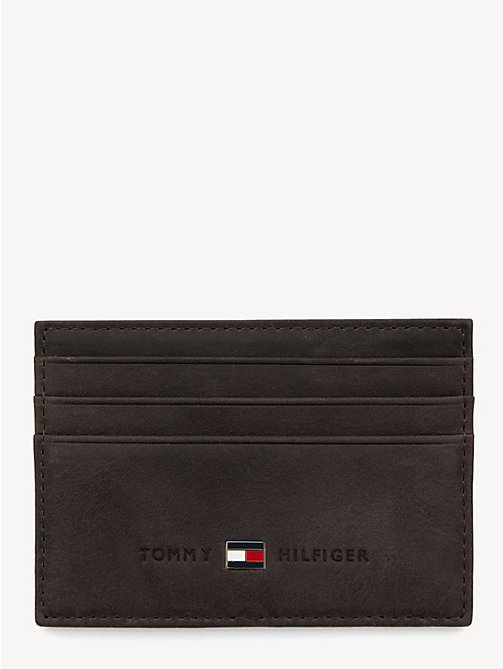 TOMMY HILFIGER Leather Cardholder - BROWN - TOMMY HILFIGER Wallets & Keyrings - main image
