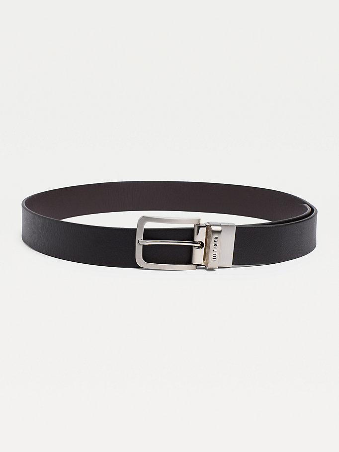 black reversible leather silver-tone loop belt for men tommy hilfiger