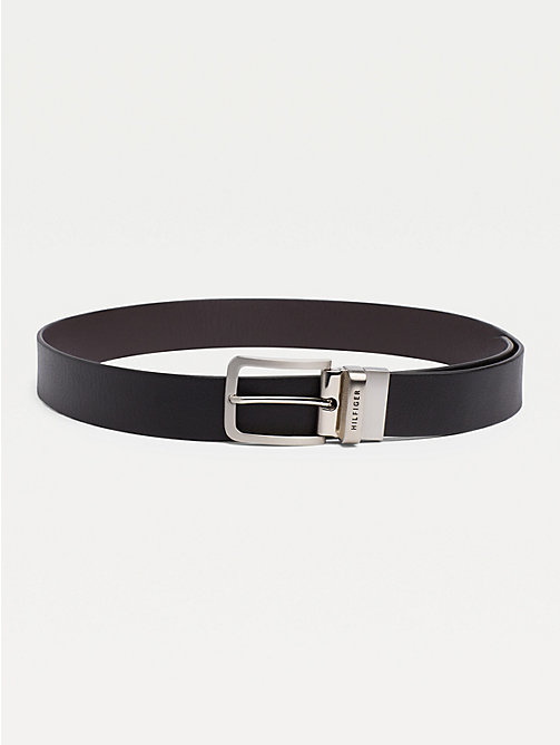 TOMMY HILFIGER Reversible Leather Silver-Tone Loop Belt - BLACK/BROWN - TOMMY HILFIGER Belts - main image
