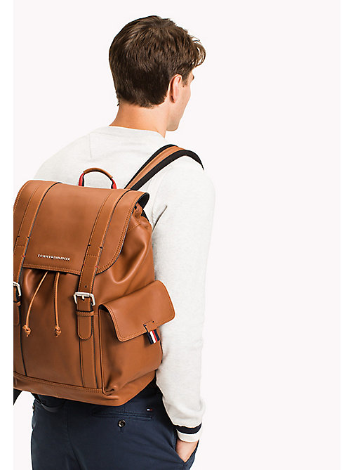 Leather Buckle Backpack - COGNAC - TOMMY HILFIGER Bags & Accessories - detail image 1