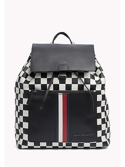 TOMMY HILFIGER Chequerboard Print Leather Backpack - CHECKER PRINT - TOMMY HILFIGER NEW IN - main image