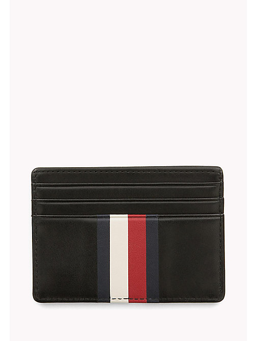 TOMMY HILFIGER Stripe Leather Cardholder - BLACK - TOMMY HILFIGER Wallets & Keyrings - detail image 1