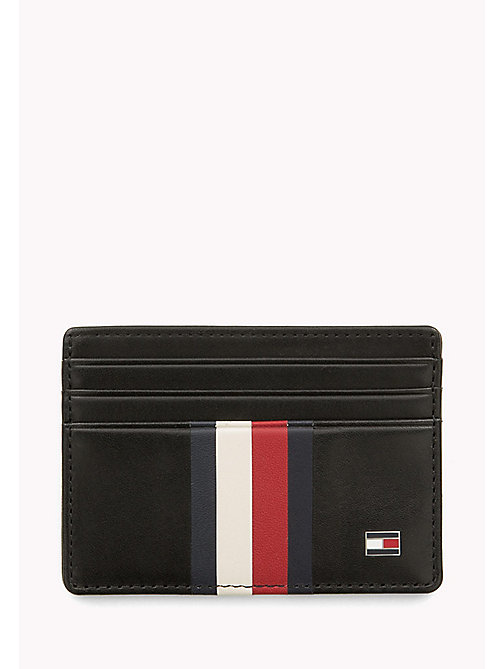 TOMMY HILFIGER Stripe Leather Cardholder - BLACK - TOMMY HILFIGER Wallets & Keyrings - main image
