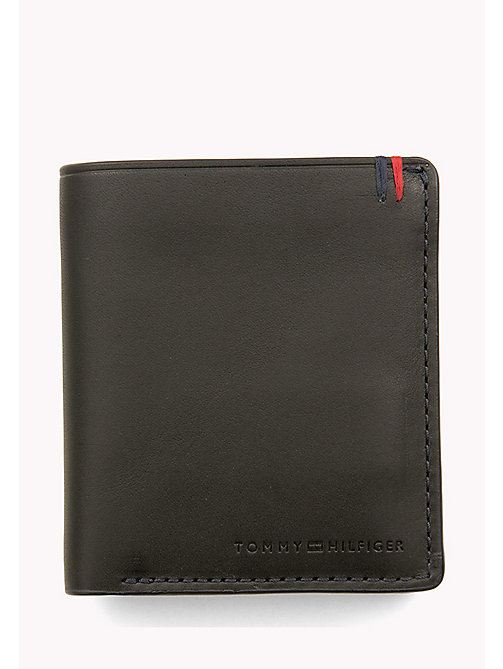 TOMMY HILFIGER Burnished Leather Trifold Wallet - BLACK - TOMMY HILFIGER Wallets & Keyrings - main image