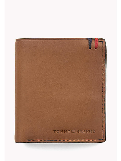 TOMMY HILFIGER Burnished Leather Trifold Wallet - COGNAC - TOMMY HILFIGER Wallets & Keyrings - main image