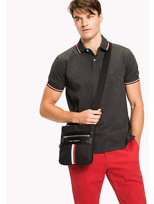 TOMMY HILFIGER Coated Canvas Mini Crossover Bag - BLACK - TOMMY HILFIGER NEW IN - detail image 1