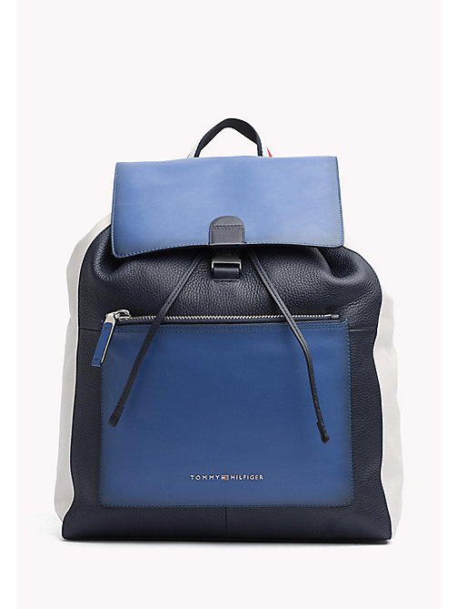 TOMMY HILFIGER Colour-blocked leren rugzak - BLUE MIX - TOMMY HILFIGER NIEUW - main image