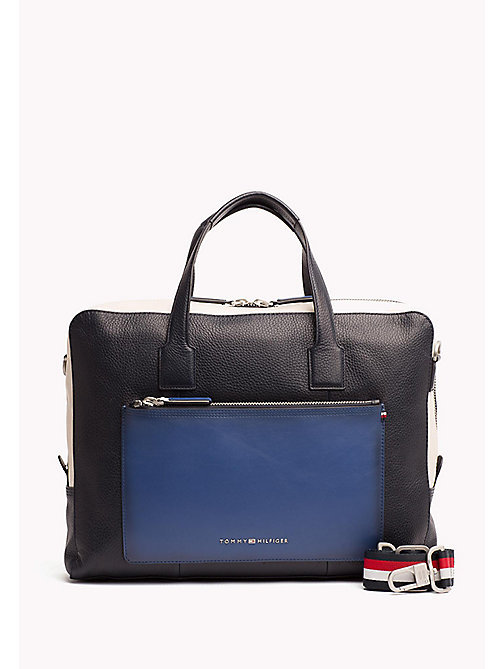 TOMMY HILFIGER Colour-Blocked Leather Computer Bag - BLUE MIX - TOMMY HILFIGER NEW IN - main image