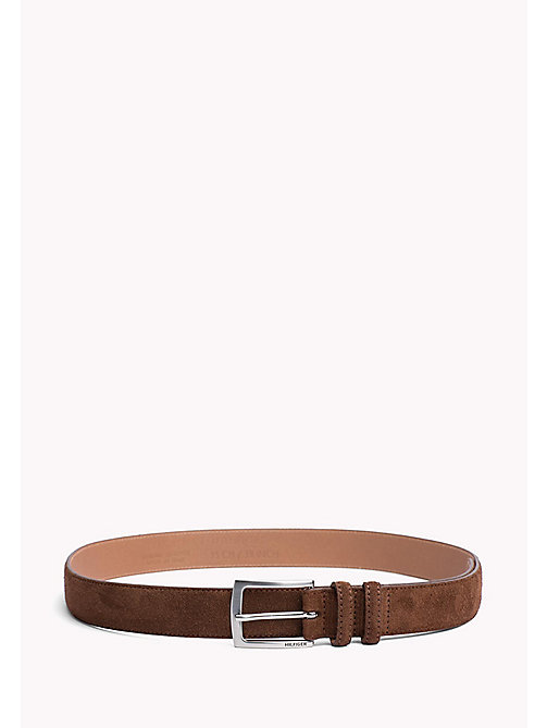 TOMMY HILFIGER Tailored Suede Belt - COGNAC -  Belts - main image