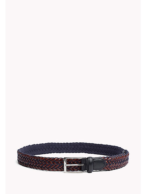 TOMMY HILFIGER Braided Leather Belt - TOMMY NAVY-COGNAC - TOMMY HILFIGER Belts - main image