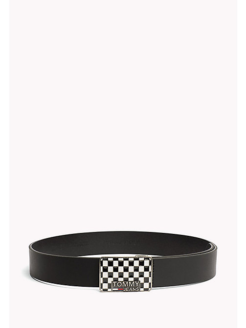 TOMMY JEANS Metal Buckle Leather Belt - BLACK - TOMMY JEANS MEN - main image