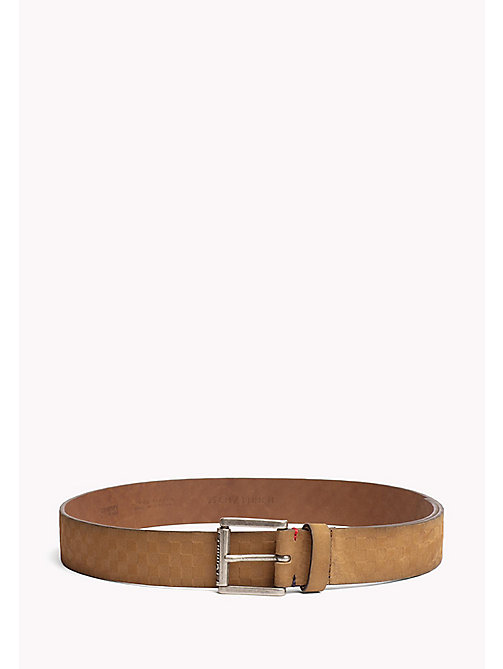 TOMMY JEANS Leather Patterned Belt - TAN -  MEN - main image