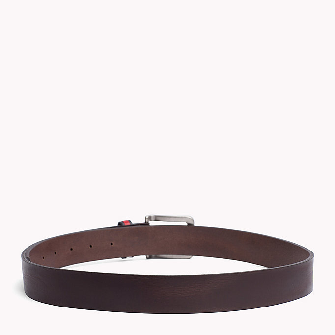 TOMMY JEANS Flag Loop Leather Belt - DARK TAN - TOMMY JEANS Bags & Accessories - detail image 1