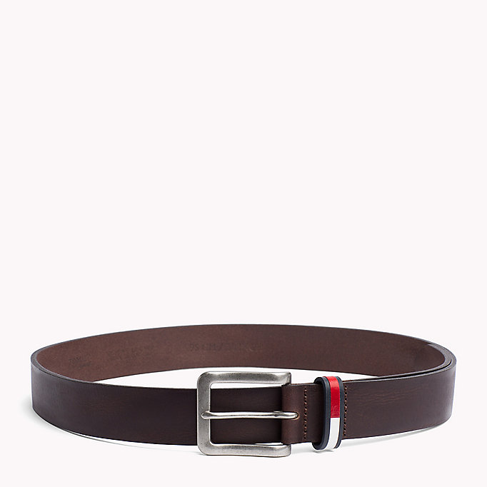 TOMMY JEANS Flag Loop Leather Belt - DARK TAN - TOMMY JEANS Bags & Accessories - main image