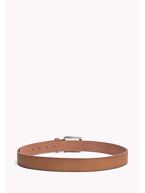 TOMMY JEANS Flag Loop Leather Belt - DARK TAN - TOMMY JEANS MEN - detail image 1