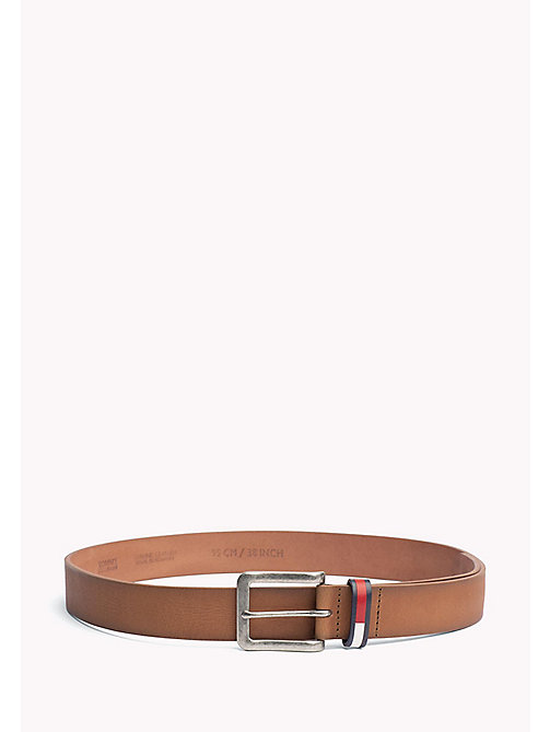 TOMMY JEANS Flag Loop Leather Belt - DARK TAN - TOMMY JEANS Tommy Jeans Shoes & Accessories - main image