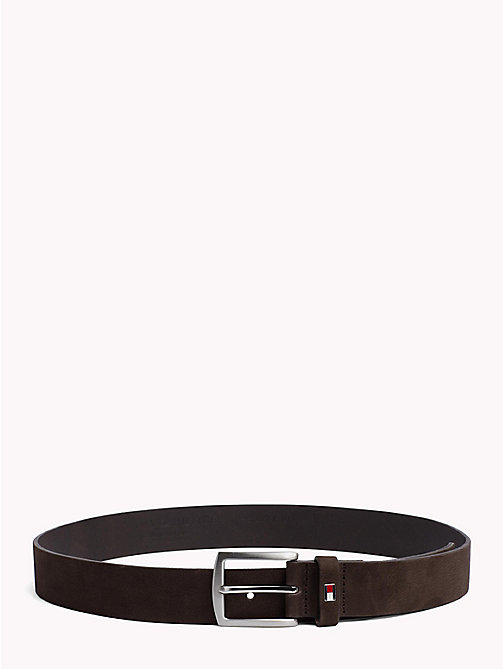 TOMMY HILFIGER Nubuck Leather Belt - COFFEEBEAN -  Belts - main image