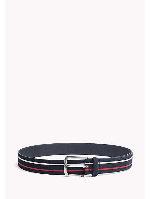 TOMMY HILFIGER Stripe Nubuck Leather Belt - CORPORATE -  Belts - main image