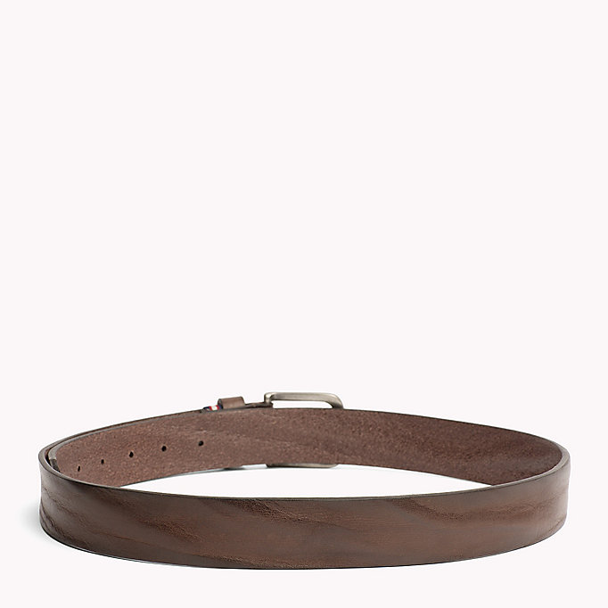 TOMMY HILFIGER Rustic Leather Belt - DARK TAN - TOMMY HILFIGER Bags & Accessories - detail image 1