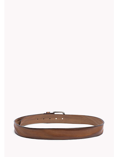 TOMMY HILFIGER Rustic Leather Belt - DARK TAN - TOMMY HILFIGER Belts - detail image 1