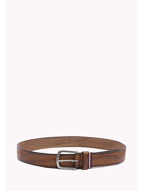 TOMMY HILFIGER Rustic Leather Belt - DARK TAN - TOMMY HILFIGER VACATION FOR HIM - main image