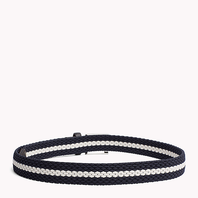 TOMMY HILFIGER Contrast Stripe Woven Belt - TOMMY NAVY-COBALT BLUE - TOMMY HILFIGER Men - detail image 1