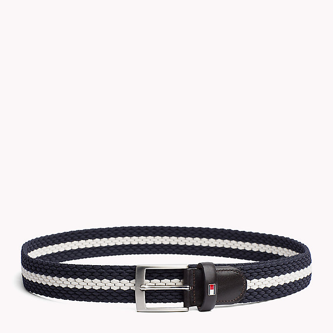 TOMMY HILFIGER Contrast Stripe Woven Belt - TOMMY NAVY-COBALT BLUE - TOMMY HILFIGER Men - main image