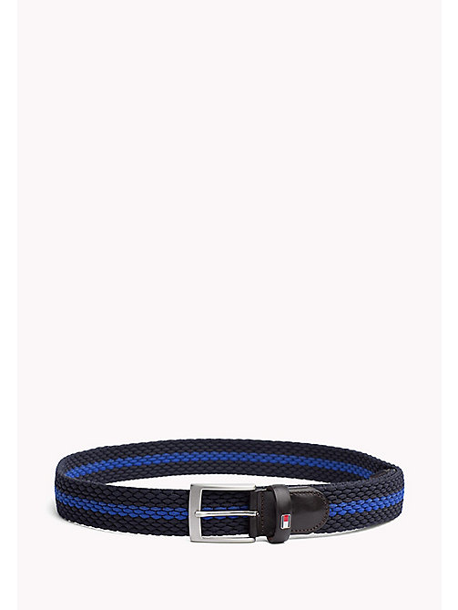 TOMMY HILFIGER Contrast Stripe Woven Belt - TOMMY NAVY-COBALT BLUE - TOMMY HILFIGER VACATION FOR HIM - main image