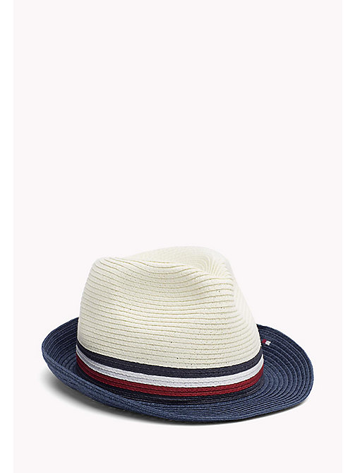 TOMMY HILFIGER Straw Hat with Signature Stripe - BRIGHT WHITE - TOMMY HILFIGER Hats - main image