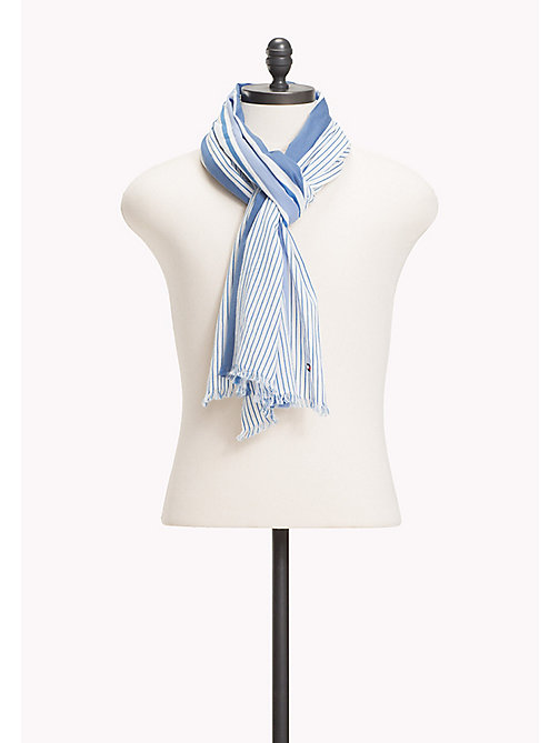 TOMMY HILFIGER Stripe Cotton Scarf - BLUE MIX - TOMMY HILFIGER Scarves - main image