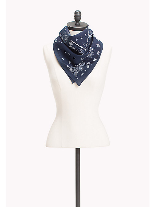 TOMMY HILFIGER Patterned Cotton Bandana - TOMMY NAVY - TOMMY HILFIGER Scarves - main image