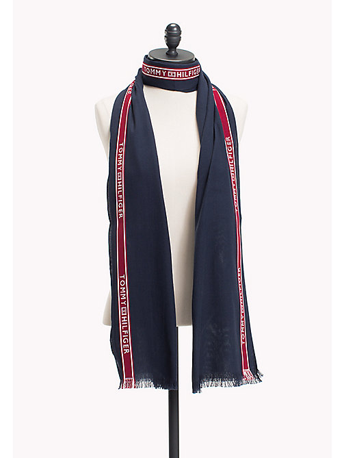 TOMMY HILFIGER Sjaal met signature-streep - TOMMY NAVY - TOMMY HILFIGER Sjaals - main image