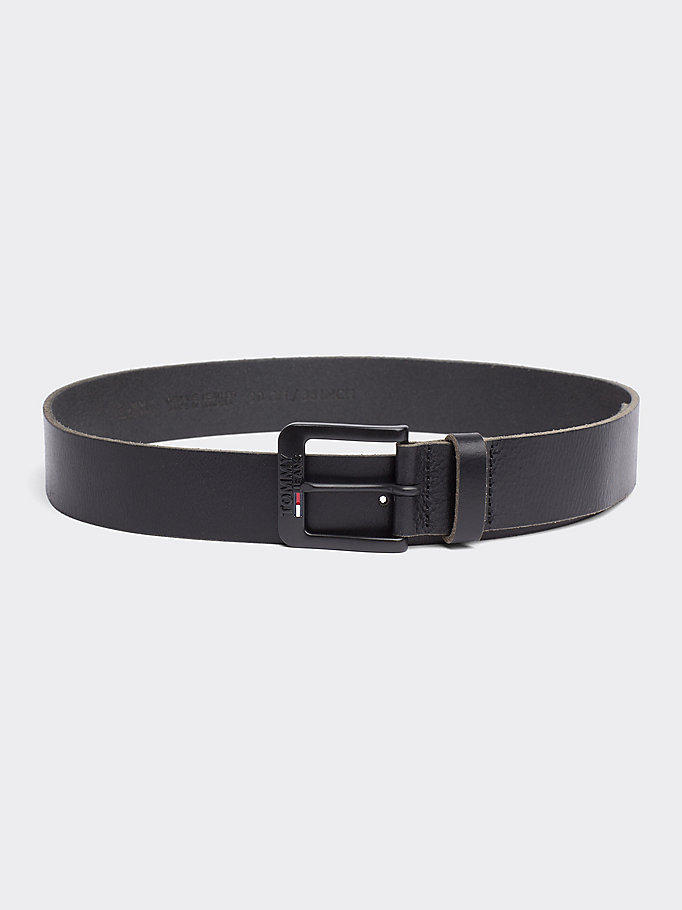 TOMMY JEANS Classic Logo Buckle Leather Belt - TESTA DI MORO - TOMMY JEANS Men - main image