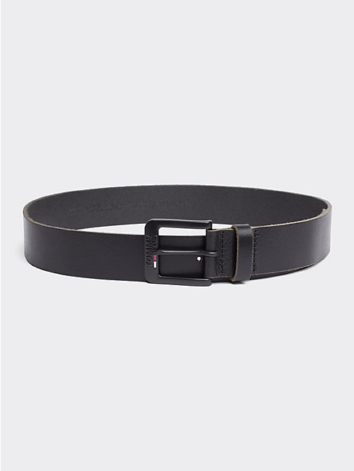 TOMMY JEANS Classic Logo Buckle Leather Belt - BLACK - TOMMY JEANS Shoes & Accessories - main image