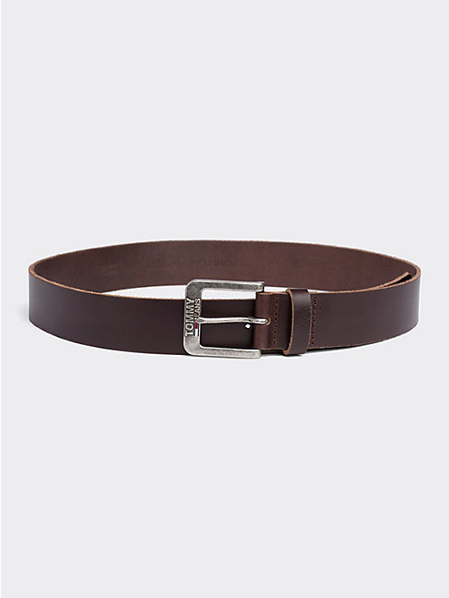 TOMMY JEANS Classic Logo Buckle Leather Belt - TESTA DI MORO - TOMMY JEANS Tommy Jeans Accessories - main image