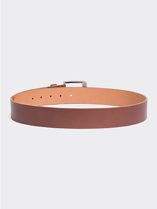 TOMMY JEANS Classic Logo Buckle Leather Belt - DARK TAN - TOMMY JEANS Shoes & Accessories - detail image 1