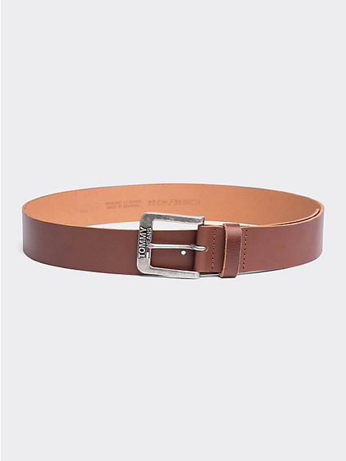 TOMMY JEANS Classic Logo Buckle Leather Belt - DARK TAN - TOMMY JEANS Tommy Jeans Shoes & Accessories - main image