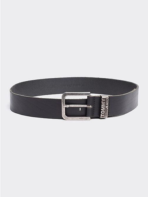TOMMY JEANS Distressed Look Leather Belt - BLACK - TOMMY JEANS Tommy Jeans Accessories - main image